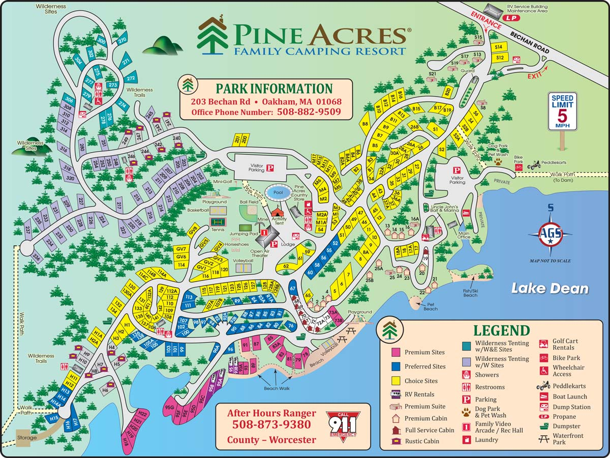 Site Map of Pine Acres Resort